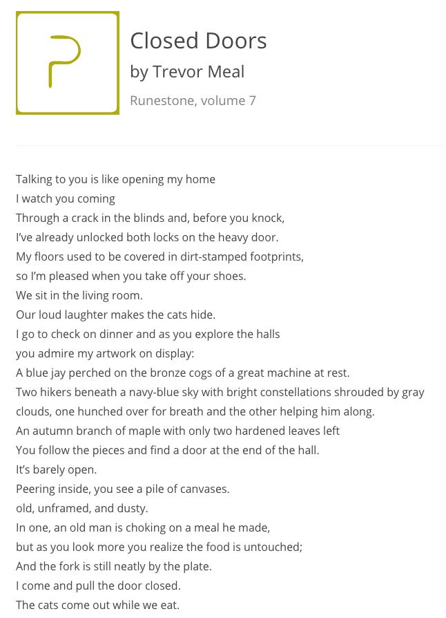 Closed Doors by Trevor Meal. Runestone v. 7
